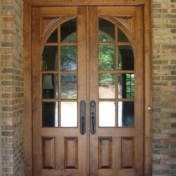 brick home wood door installation